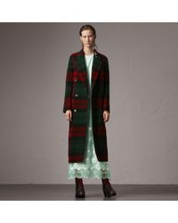 Burberry - Tartan Wool Double-breasted Coat - Lyst