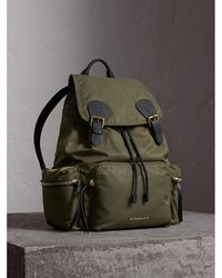 Burberry - The Large Rucksack In Technical Nylon And Leather Canvas Green - Lyst
