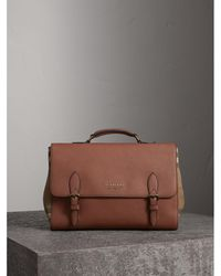 Burberry - Leather And House Check Satchel - Lyst
