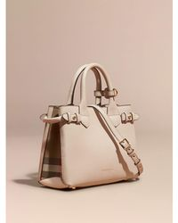 d1280124edd0 Burberry - The Medium Banner In Leather And House Check Pale Orchid - Lyst