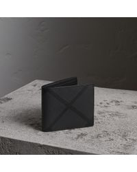 Burberry - London Check Folding Wallet In Charcoal/black - Men | Burberry - Lyst