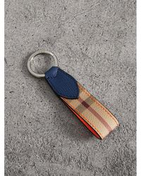 Burberry - Haymarket Check And Two-tone Leather Key Ring - Lyst