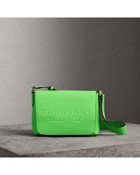 Burberry - Small Embossed Neon Leather Messenger Bag - Lyst
