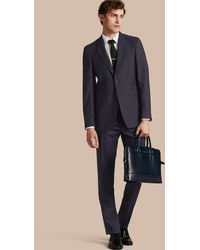Burberry - Modern Fit Wool Part-canvas Suit Navy - Lyst