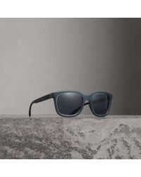 69d903b7b66 Lyst - Burberry London Canvas Check 63mm Aviator Sunglasses in Black ...