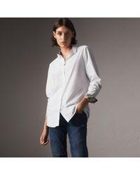 Burberry - Check Detail Stretch Cotton Shirt - Lyst