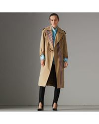 Burberry - Striped Ribbon Gabardine Oversized Trench Coat - Lyst