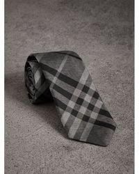 Burberry | Modern Cut Check Silk Tie | Lyst