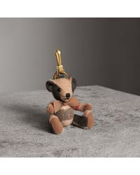 Burberry - Thomas Bear Charm In Check Cashmere Camel - Lyst