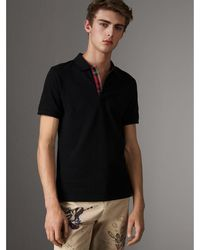 Burberry - Tartan Trim Cotton Piqué Polo Shirt - Lyst