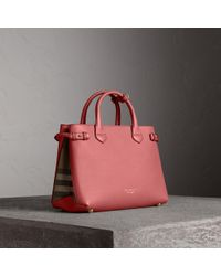 Burberry - The Medium Banner In Leather And House Check Mauve Pink - Lyst e755a1343b13b