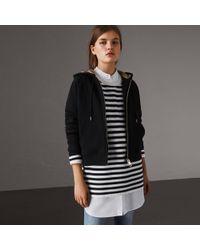 Burberry - Hooded Zip-front Cotton Blend Sweatshirt Black - Lyst