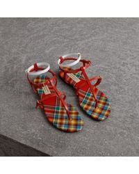 Burberry - Vintage Check And Leather Sandals - Lyst