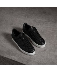 Burberry - Check-quilted Leather Sneakers - Lyst
