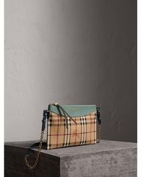 ebd344c4f34b Burberry - Haymarket Check And Two-tone Leather Clutch Bag - Lyst