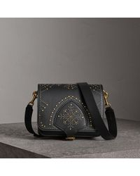 Burberry - The Square Satchel In Riveted Leather - Lyst