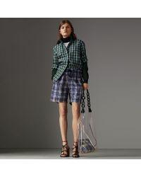 Burberry - Stripe Detail Check Cotton Silk Shirt - Lyst