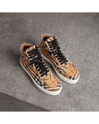 Burberry - Vintage Check Cotton High-top Sneakers - Lyst