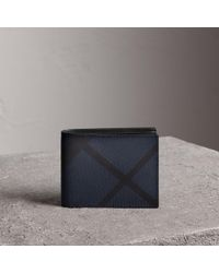 Burberry - Smoked Checked Leather-Trimmed Wallet - Lyst
