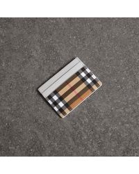 Burberry - Vintage Check And Leather Card Case - Lyst