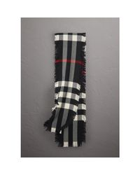 Burberry - Fringed Check Wool Scarf - Lyst