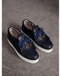 Burberry - Kiltie Fringe Leather Trainers - Lyst