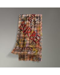 Burberry - Graffiti Vintage Check Wool Silk Scarf - Lyst