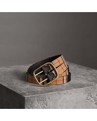 Burberry - Vintage Check And Leather Double-strap Belt - Lyst