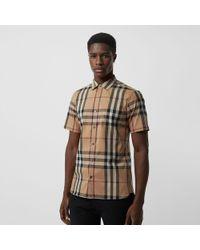 Burberry - Short-sleeved Check Stretch Cotton Shirt Camel - Lyst c59fbc5db9