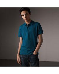 Burberry - Check Placket Cotton Piqué Polo Shirt Mineral Blue - Lyst