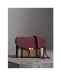 Burberry - Small Leather And House Check Cross-Body Bag  - Lyst