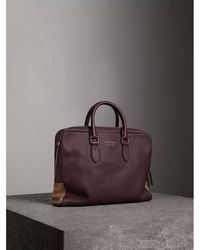 Burberry - Leather And House Check Briefcase Wine - Lyst
