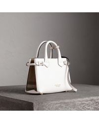 ff2ea024d860 Burberry The Small Canter Leather And House Check Bag in Natural - Lyst