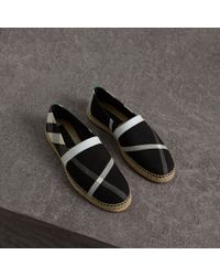 Burberry - Check Cotton Canvas Seam-sealed Espadrilles - Lyst