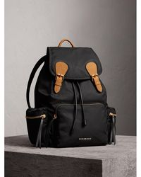 Burberry - The Large Rucksack In Technical Nylon And Leather Black - Lyst