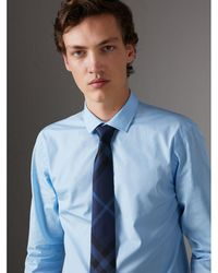 Burberry - Slim Fit Cotton Poplin Shirt City Blue - Lyst