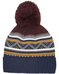 Burton - Multi Coloured Fair Isle Knitted Bobble Hat - Lyst