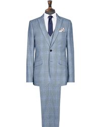 Burton - Blue Large Prince Of Wales Check Slim Fit Suit Jacket - Lyst