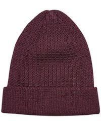 Burton - Burgundy Textured Beanie Hat - Lyst
