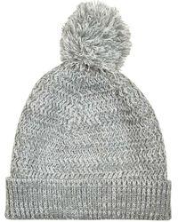 Burton - Grey Textured Knit Bobble Beanie Hat - Lyst