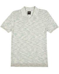 Burton - Green Open Collar Fine Knitted Polo Shirt - Lyst
