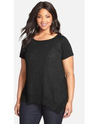 Eileen Fisher Organic Linen & Cotton Scoop Neck Cap Sleeve Top black - Lyst
