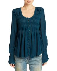 Free People Blue Bird Smocked Top - Lyst