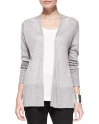 Eileen Fisher Linen Long Open Cardigan - Lyst