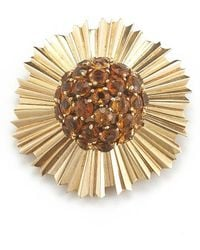 Cartier Pre-owned Yellow Gold Citrine Brooch - Lyst