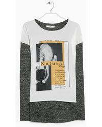 Mango Printed Panel T-Shirt gray - Lyst