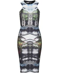 Topshop Palm Placemenent Print Midi Dress - Lyst