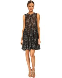 Vera Wang Printed Gauze Sleeveless Trapeze Dress - Lyst