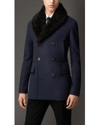 Burberry Cotton Blend Pea Coat with Shearling Topcollar - Lyst