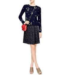 Chinti & Parker Constellation-Print Silk Skirt blue - Lyst